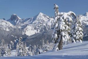 American Border Peak and Mount Larrabee in winter