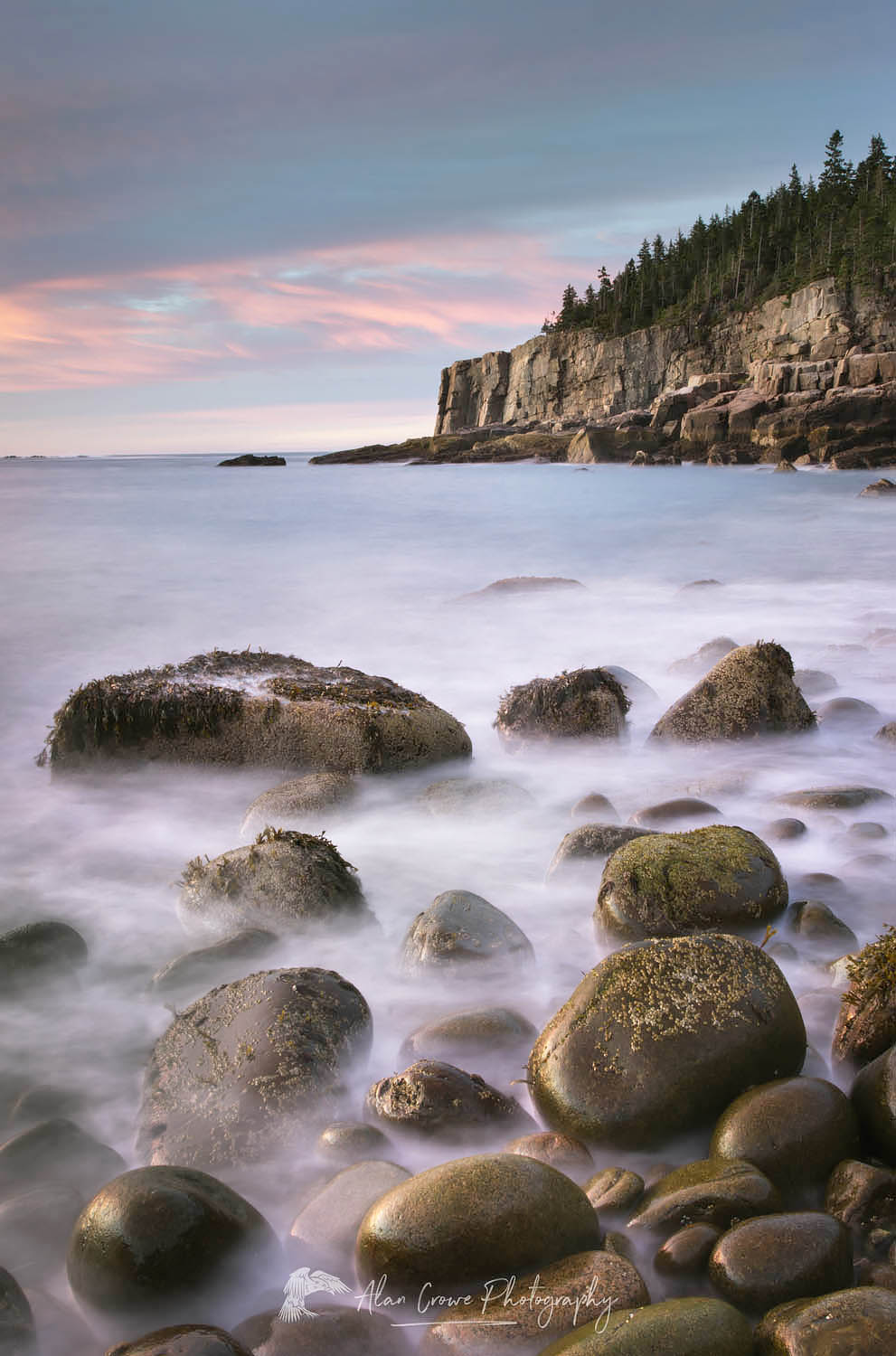 Cobblestone beach Acadia National Park
