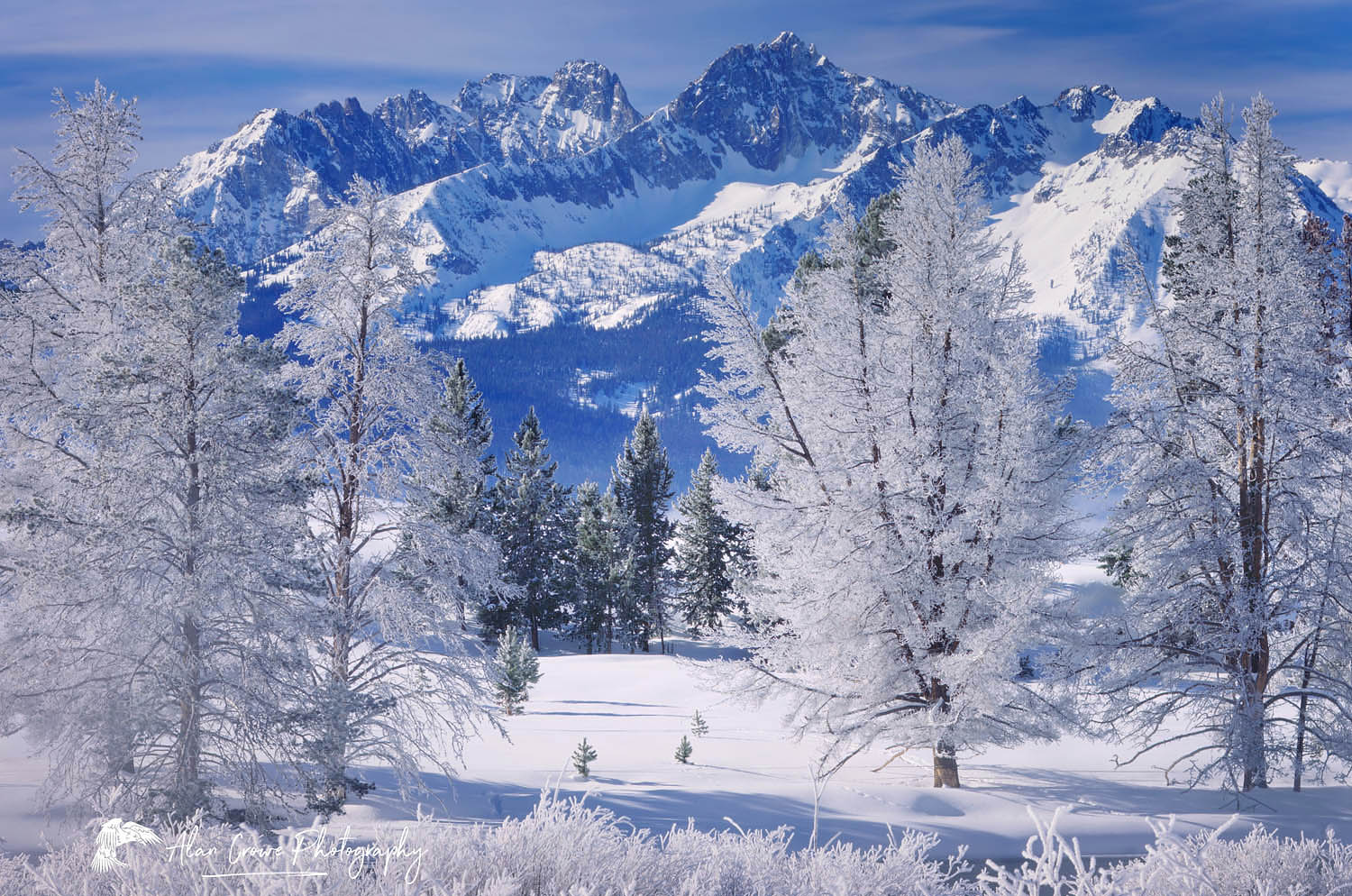Sawtooth Mountains in winter, Idaho