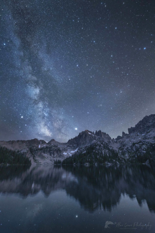 Milky Way over Baron Lake Sawtooth Mountains